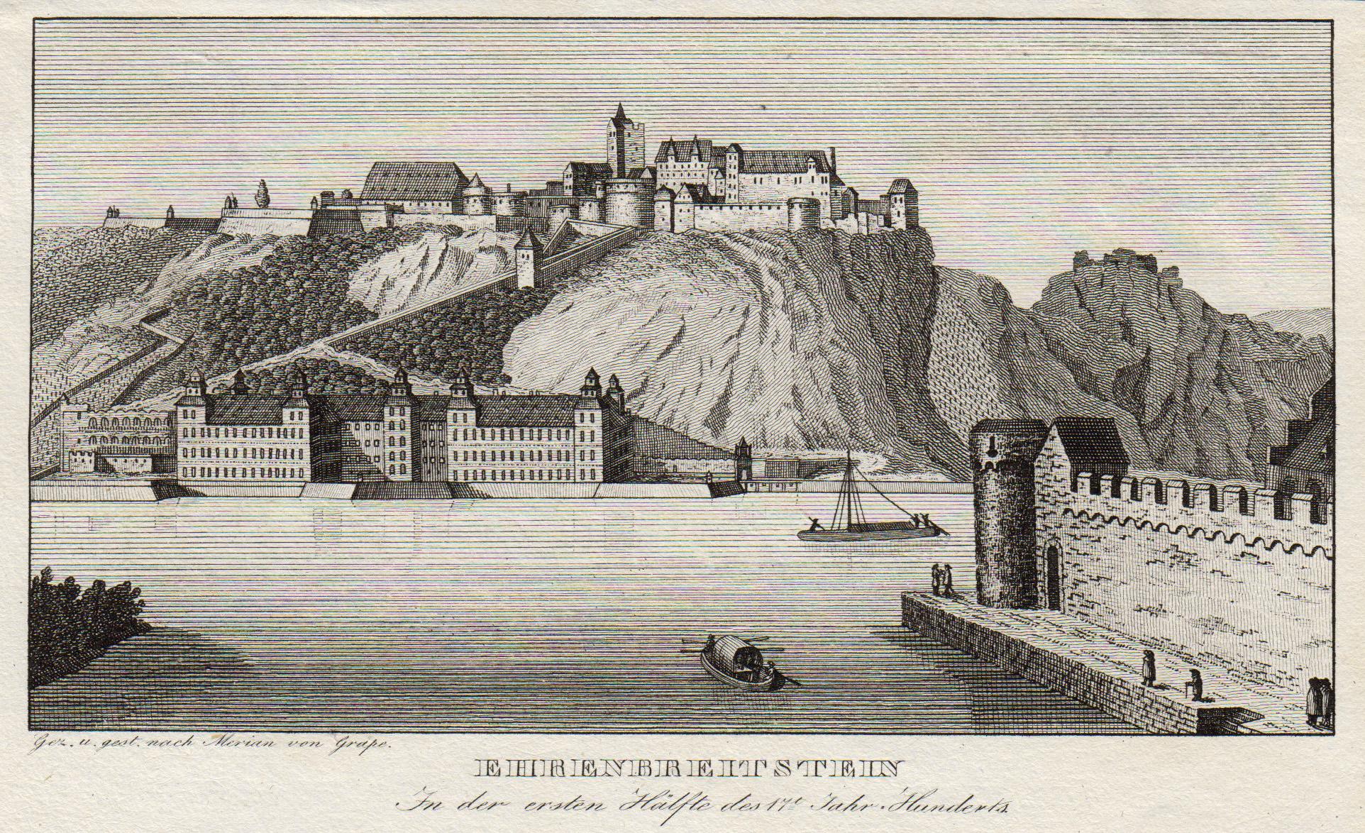 """Gesamtans., Ehrenbreitstein, """". In der ersten Hälfte: Koblenz: Ehrenbreitstein:"""