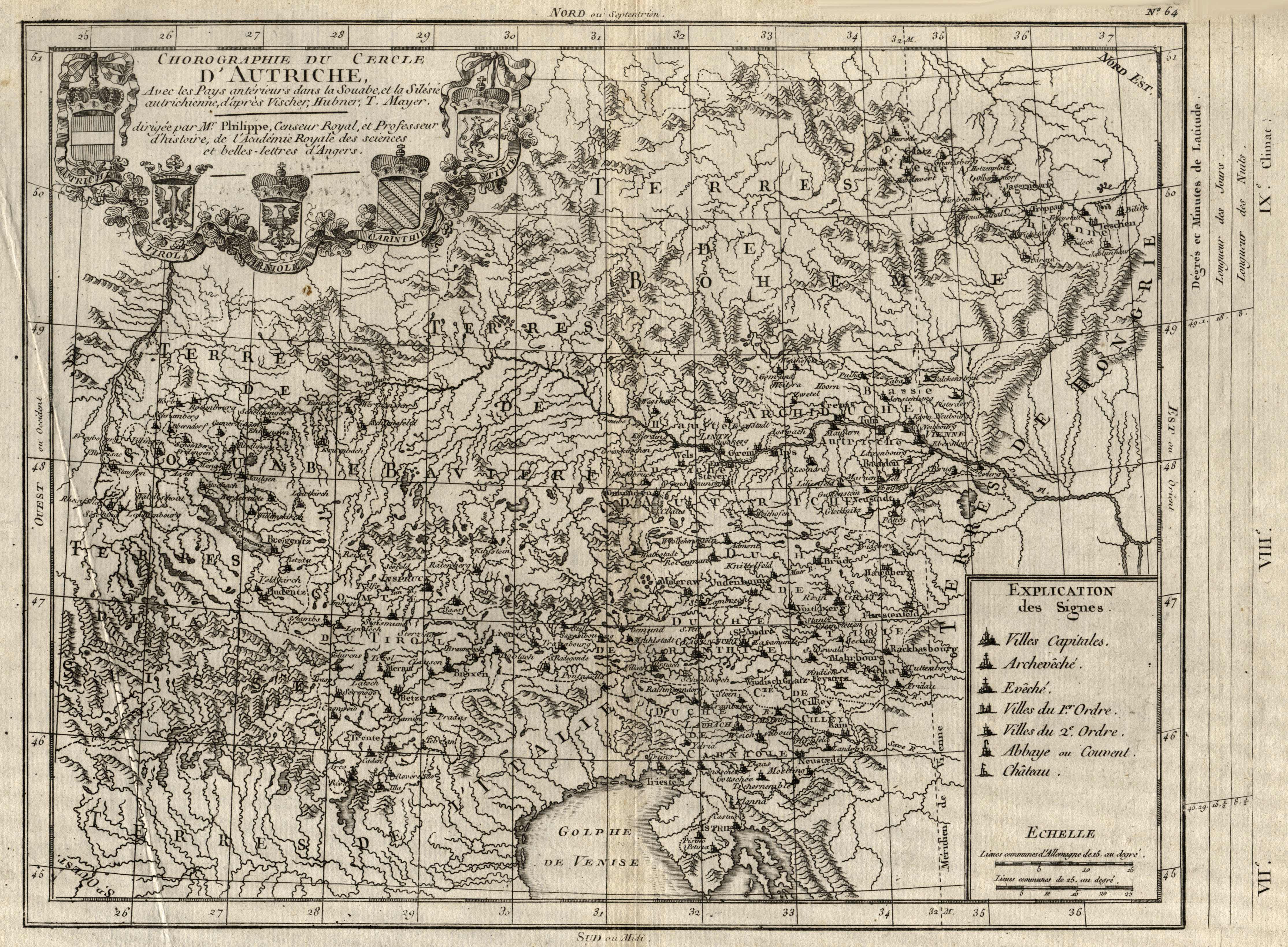 Kst.- Karte, n. Vischer, Hubner u. Mayer,: Österreichischer Kreis: