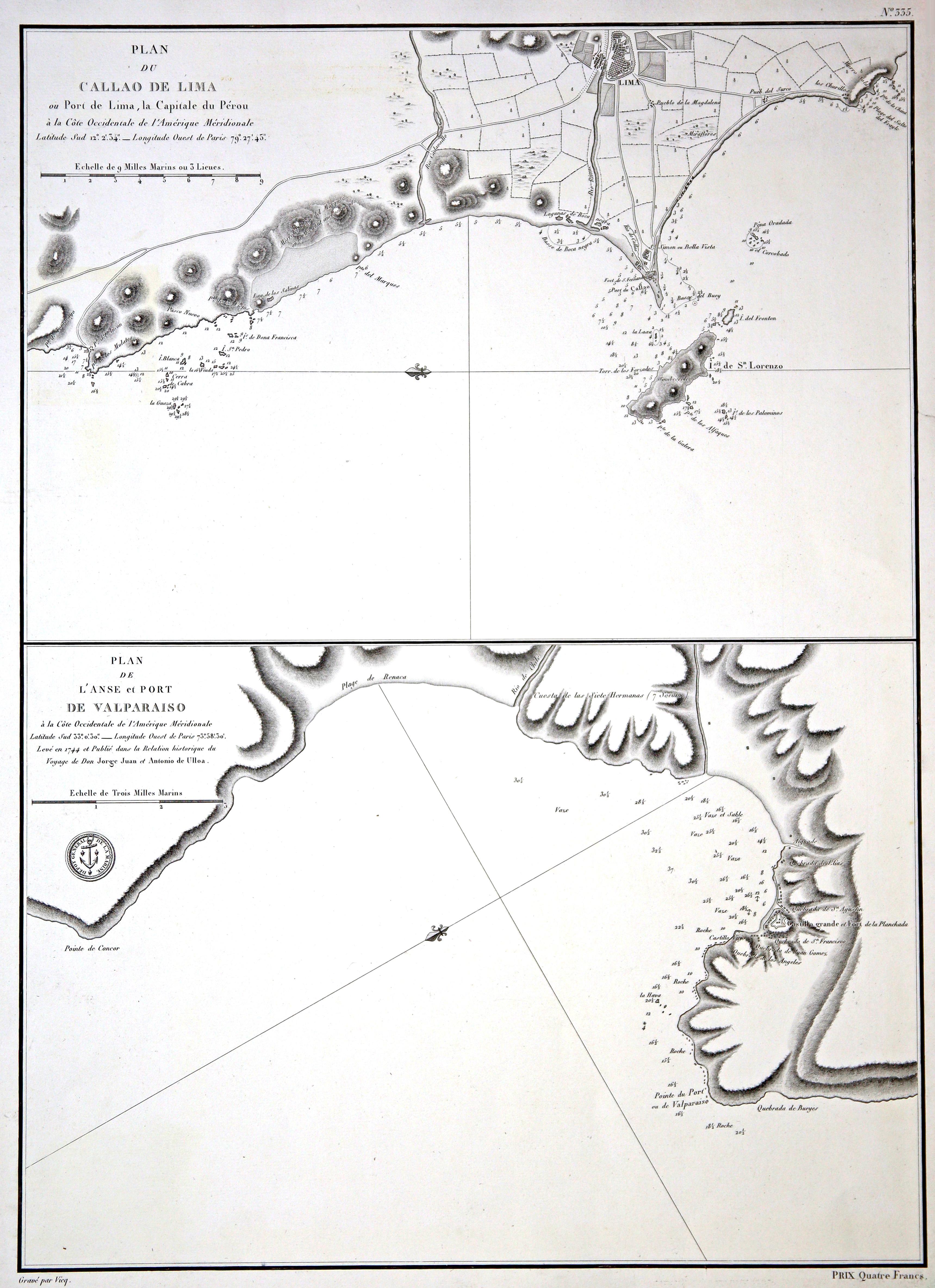 Kst.- Karte v. Vicq im Depot General: Peru - Chile: