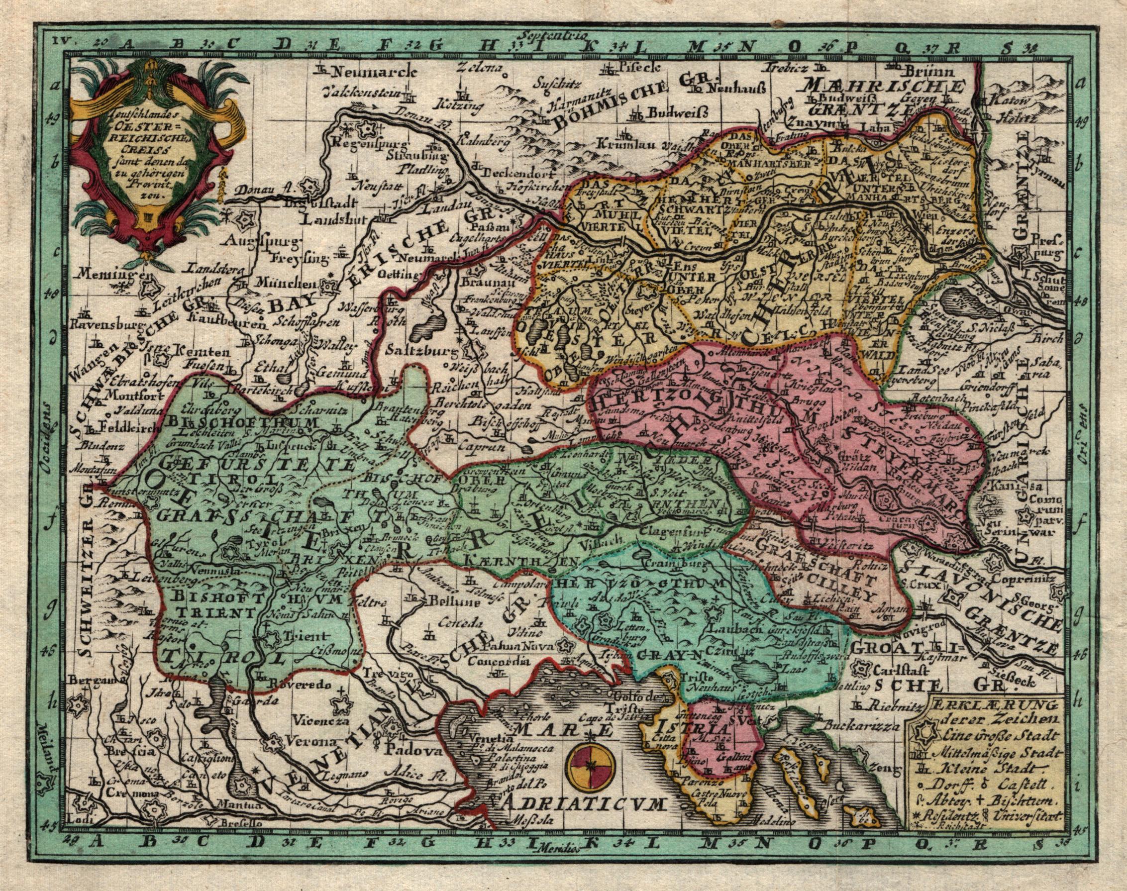 """Kst.- Karte, b. Weigel, """"Teutschlandes Oesterreichische Creiss: Österreichischer Kreis:"""