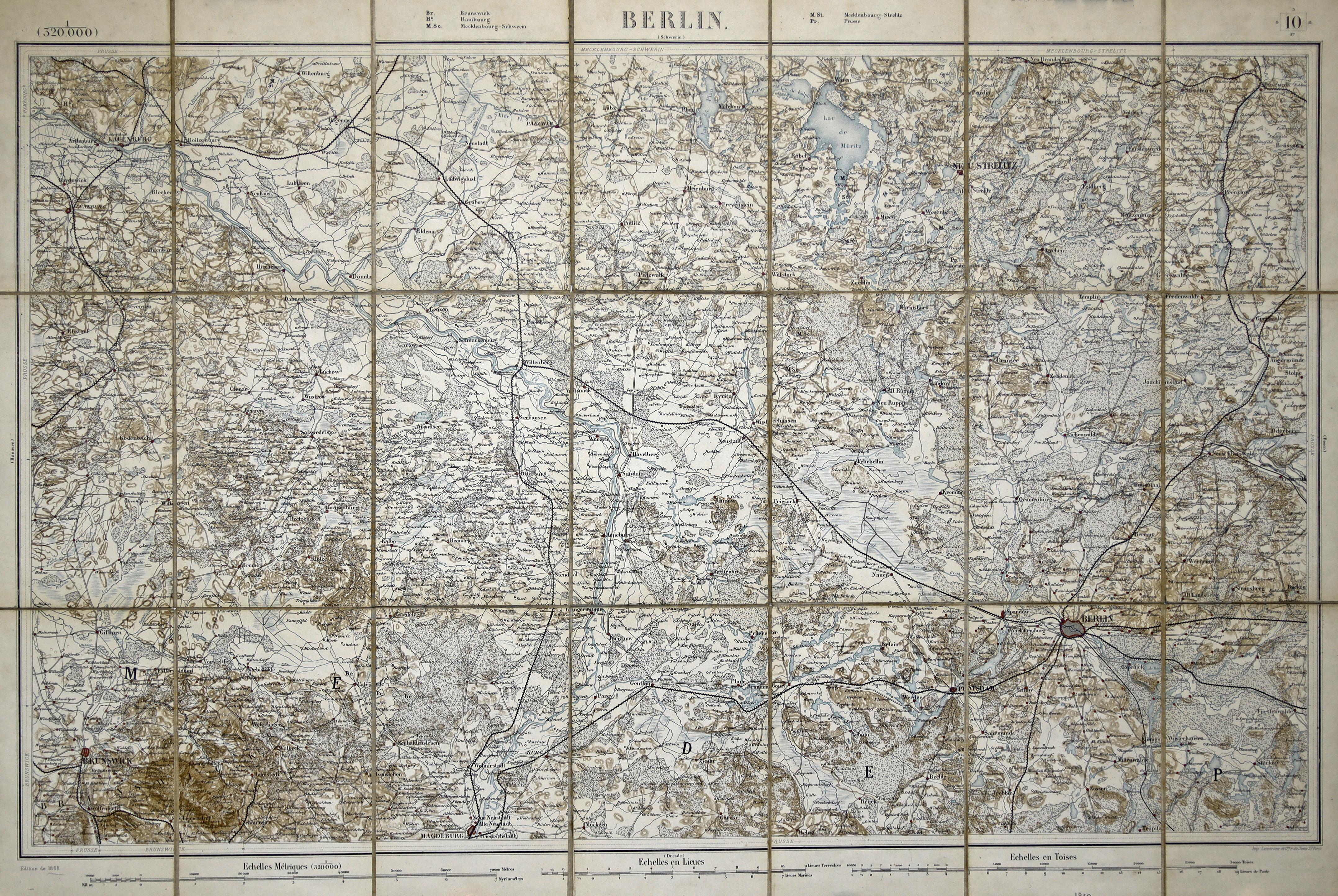 "Stst.- Karte, b. Lemercier, ""Berlin (Schwerin)"".: Berlin - Umgebungskarte:"