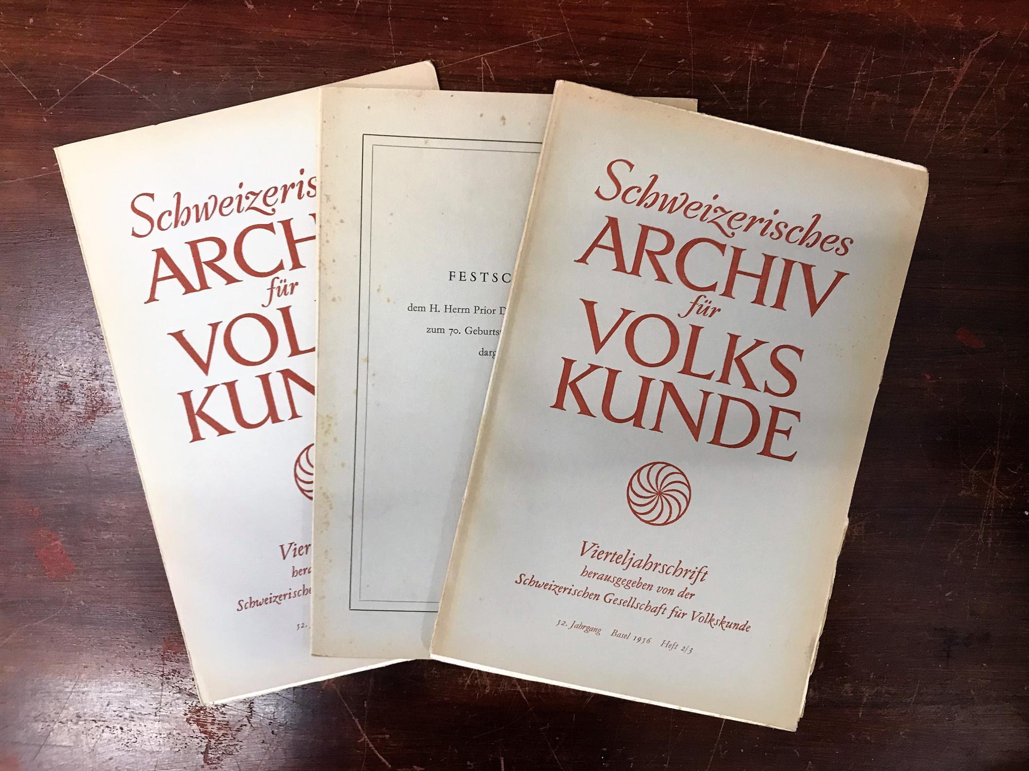 Schweizerisches Archiv für Volkskunde. Vierteljahresschrift. 52. Jahrgang: Wildhaber Robert,