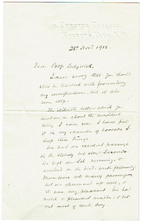 Eigenh. Brief m. Unterschrift: Ramsay, Sir William