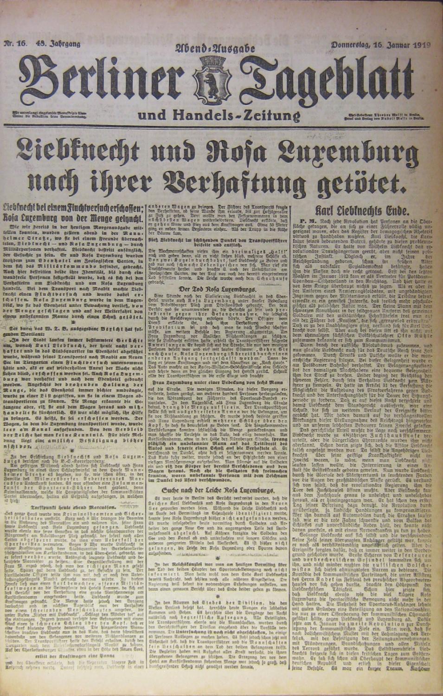 Berliner Tageblatt u.a. 1. Januar 1919 -: Berliner Tageblatt u.a.