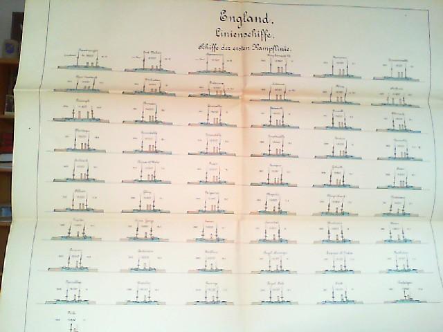 Wandtafel: England - Linienschiffe. Schiffe der ersten: Kaiserliche Marine: