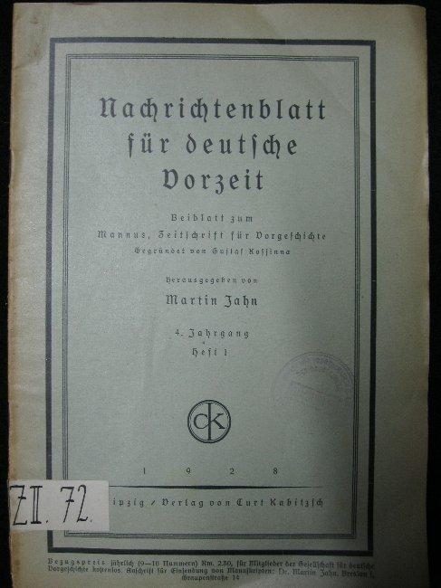 Nachrichtenblatt für deutsche Vorzeit. 4. Jahrgang Heft: Jahn, Martin: