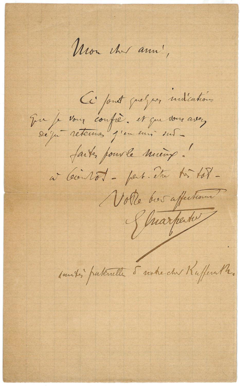Eigenh. Brief mit U.: Charpentier, Gustave, Komponist