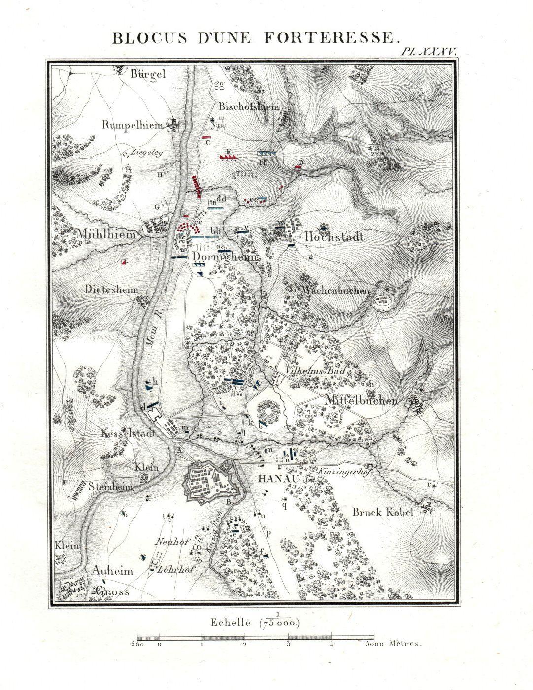 """Blocus d une Forteresse"""". Umgebungskarte von Dörnigheim: Hanau"""
