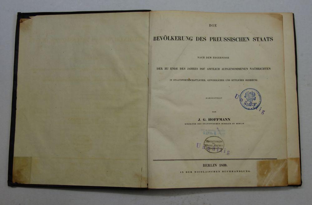 Die Bevölkerung des Preussischen Staats nach dem: Hoffmann, J. G.