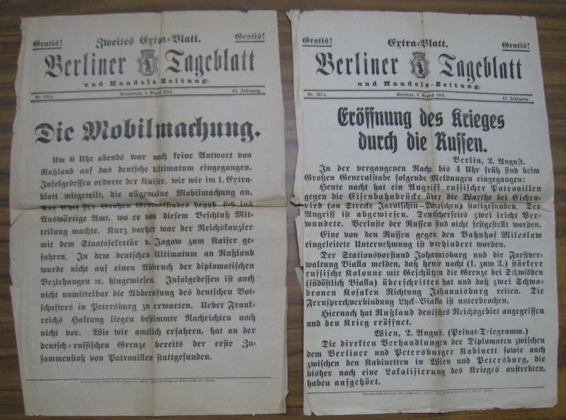 Konvolut mit 4 Blättern zum Beginn des: Vossische Zeitung /