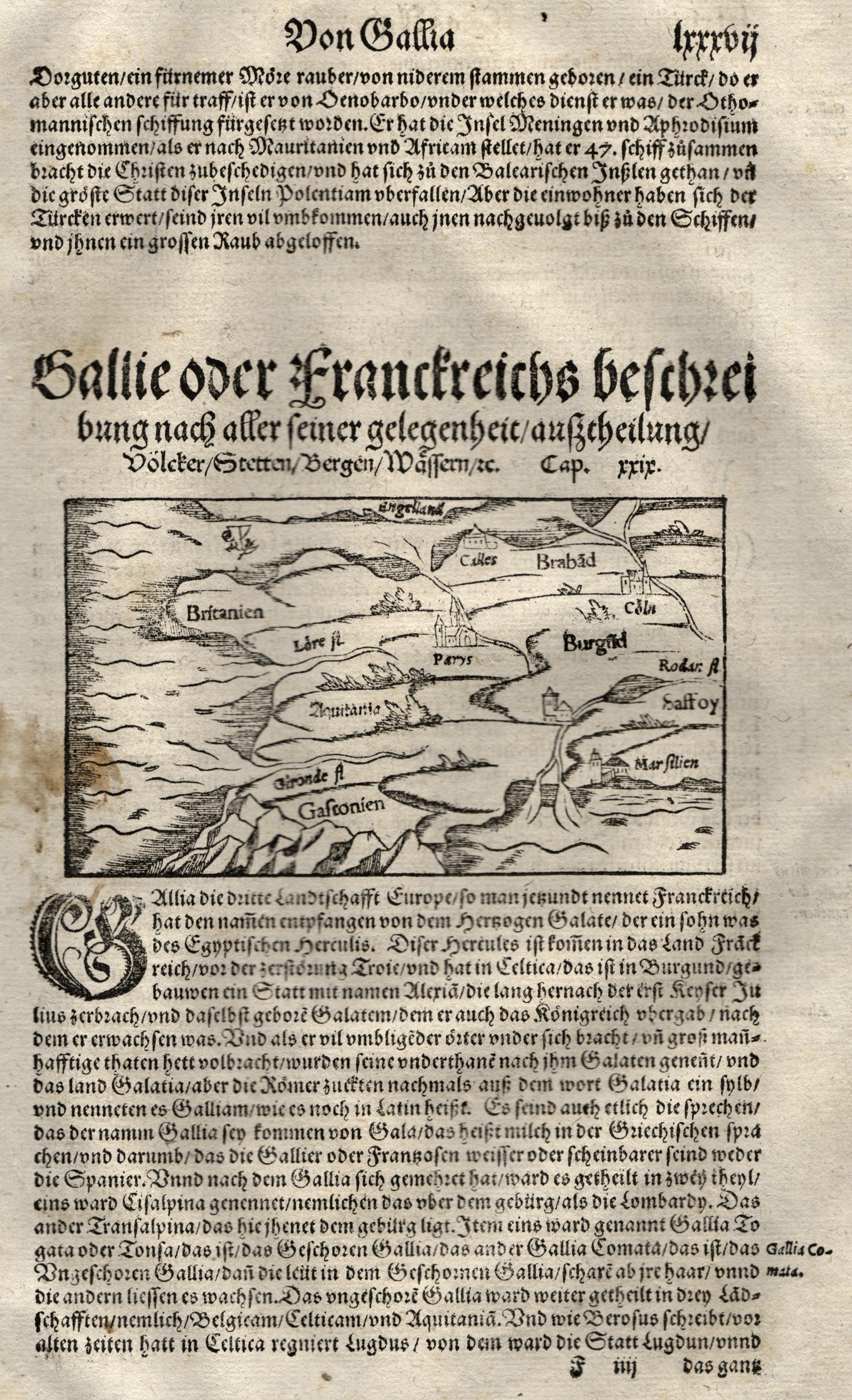 Hschn.- Karte, aus Seb. Münster, Gallie oder: Frankreich ( France