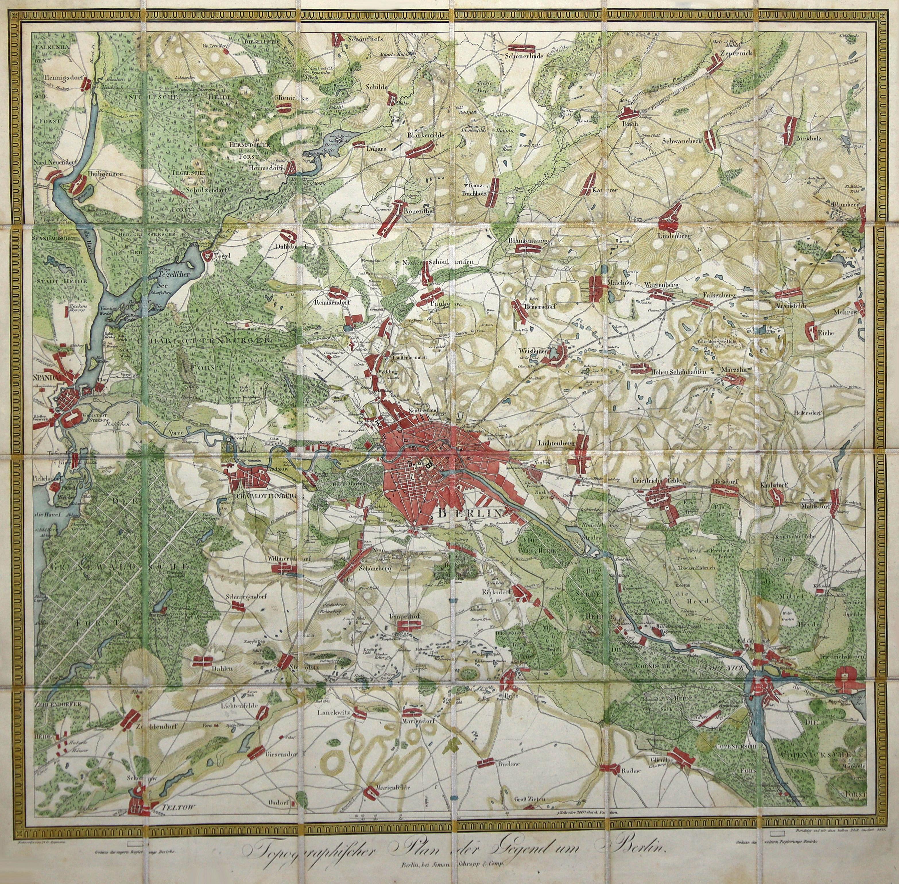 Topographischer Plan der Gegend um Berlin. Entworfen: Berlin - Umgebungskarte: