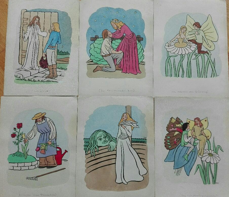 Original Aquarell Vorlagen für ein (nicht veröffentliches): E. W.
