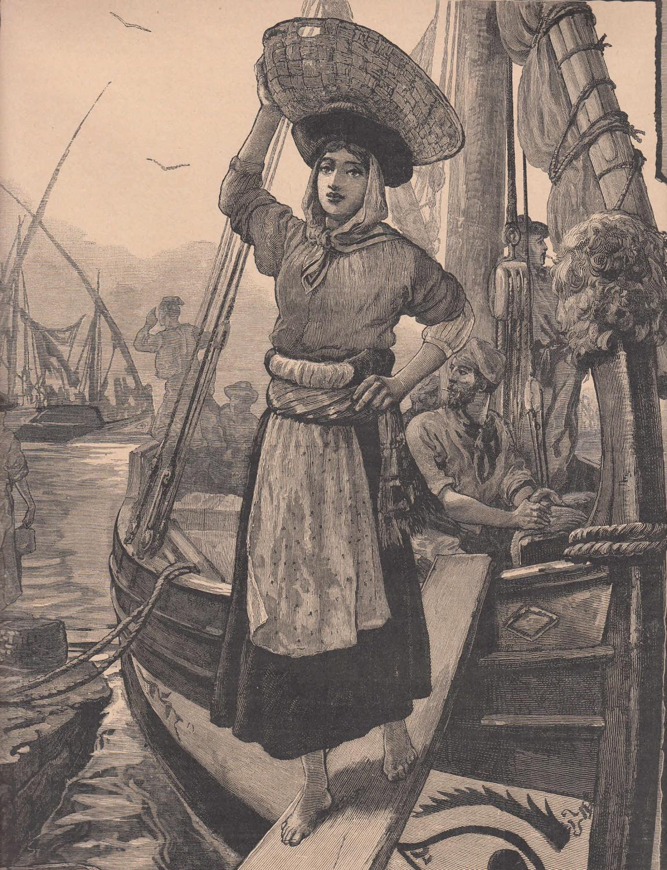 Ein Fischermädchen von Lissabon. Sie verlässt über: Portugal,