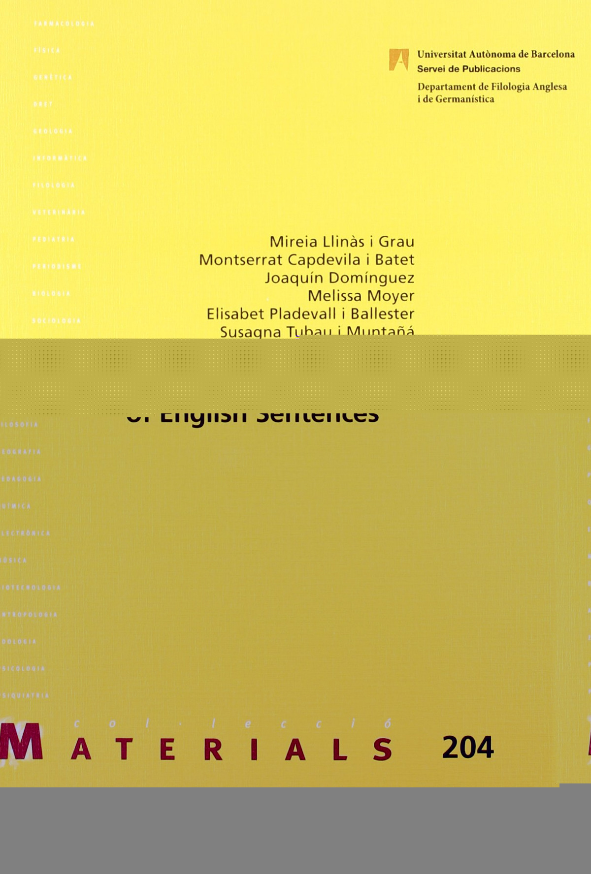 Basic Concepts for the Analysis of English Sentences - Llinês i Grau, Mireia