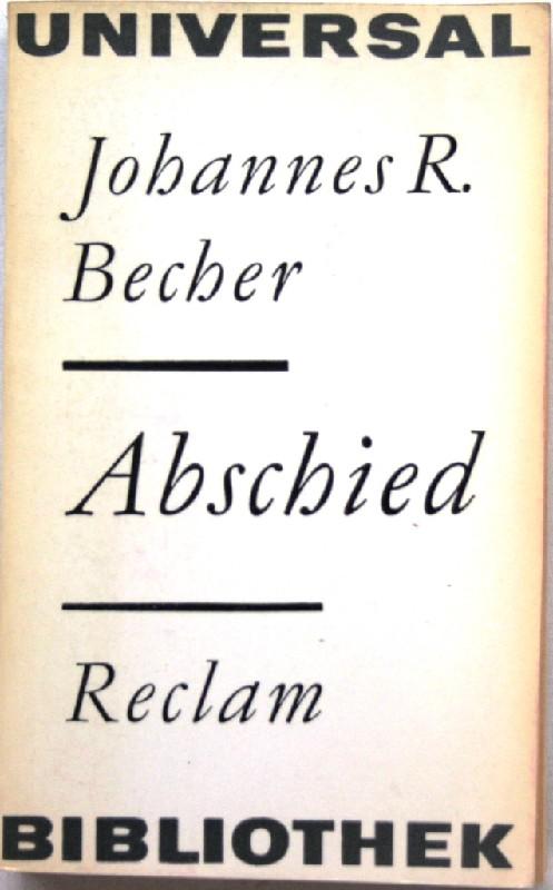 Abschied Roman: Becher, Johannes R.
