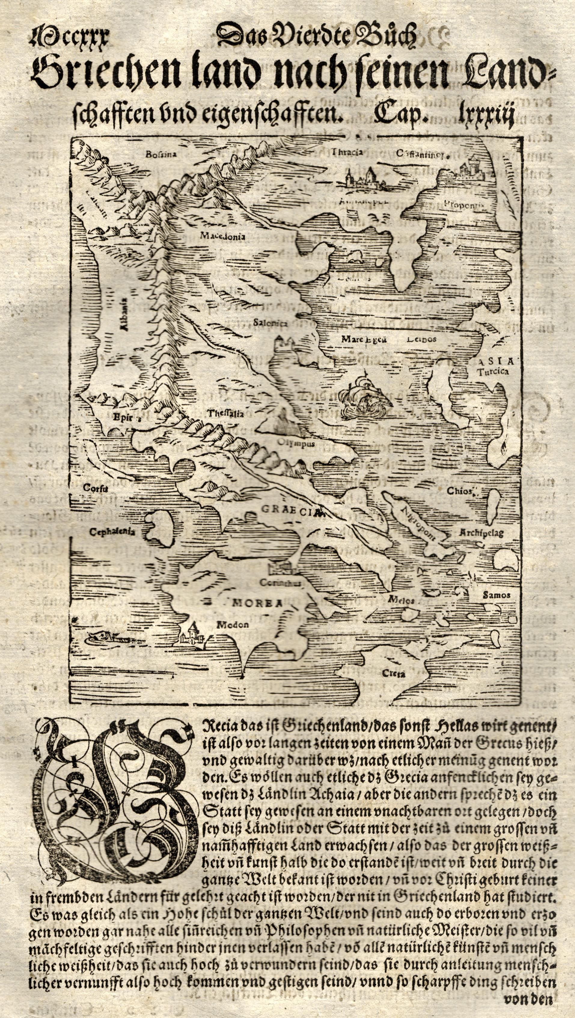 """Hschn.- Karte, aus Seb. Münster, """"Griechenlandt nach: Griechenland ( Greece"""