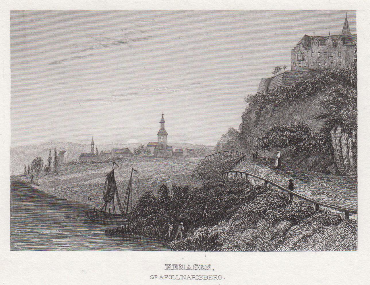 Gesamtans. v. Norden v. Rheinufer, rechts Apollinarisberg.: Remagen: