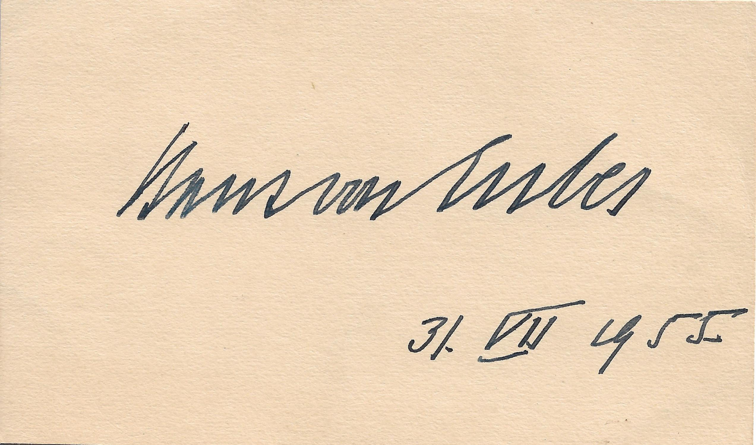 card with autograph signature of Hans von: Hans von Euler-Chelpin