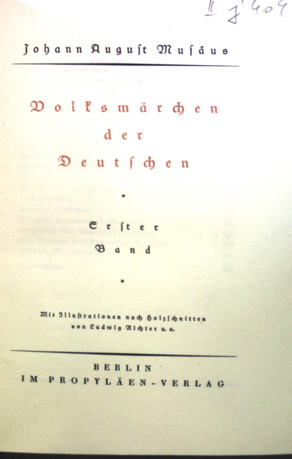 Volksmärchen der Deutschen, Erster Band.: Musäus, Johann August: