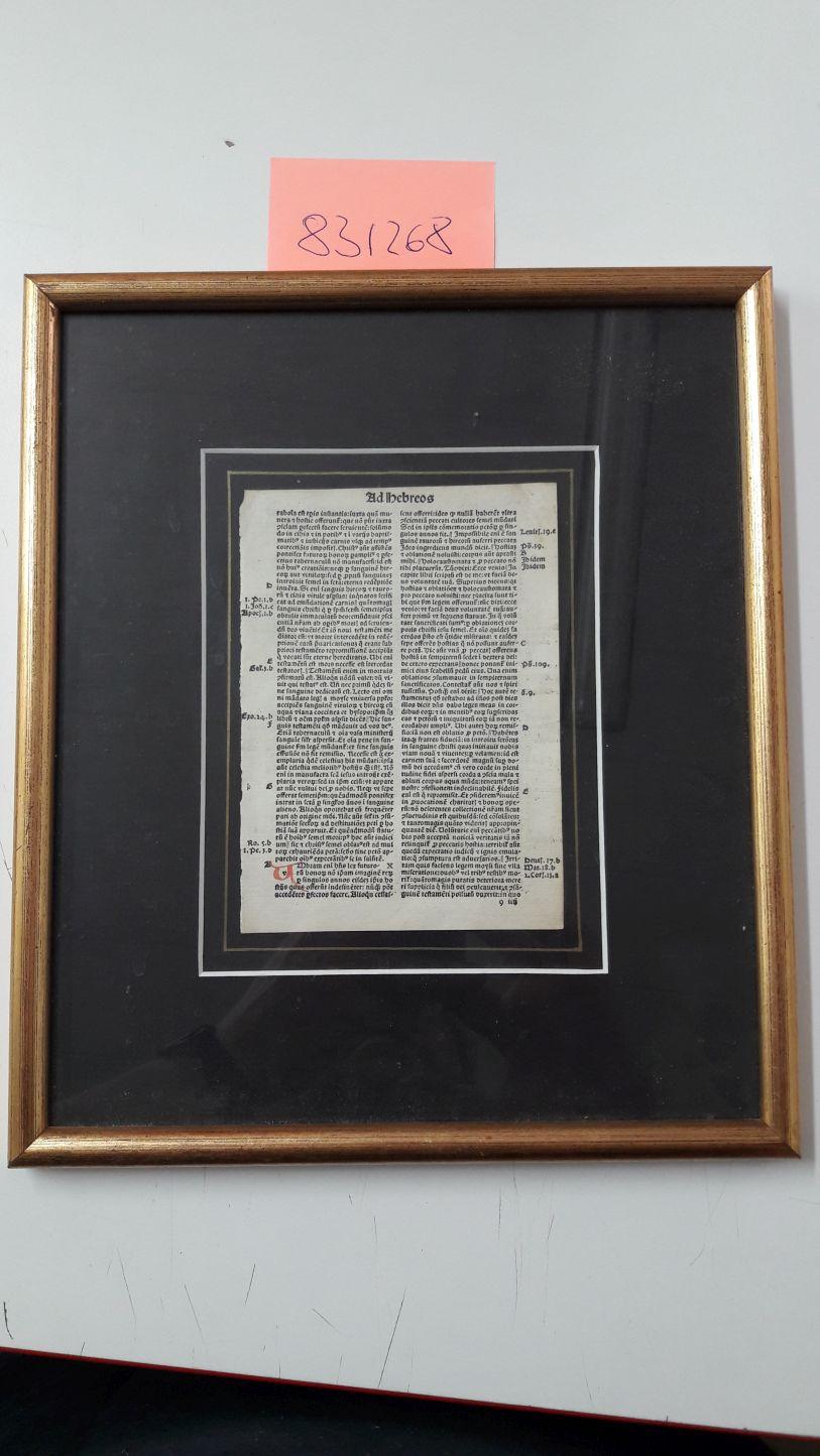"""Inkunabel aus einer lateinischen Bibel """"Biblia Pauperum"""".: unbekannt:"""