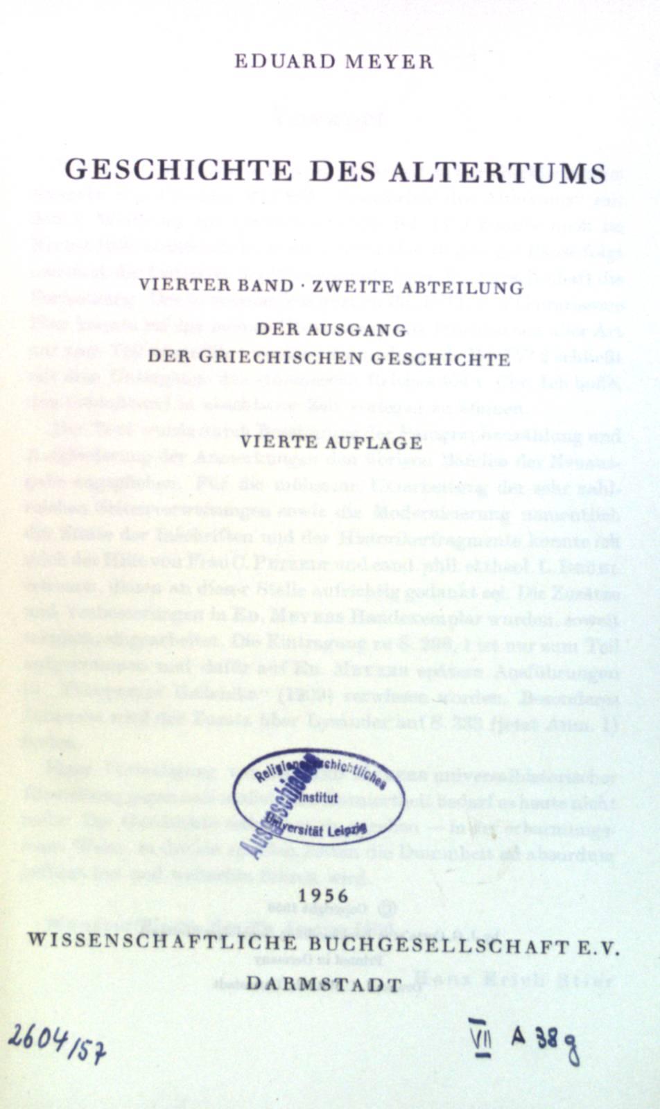 Geschichte des Altertums. Der Ausgang der griechischen: Meyer, Eduard: