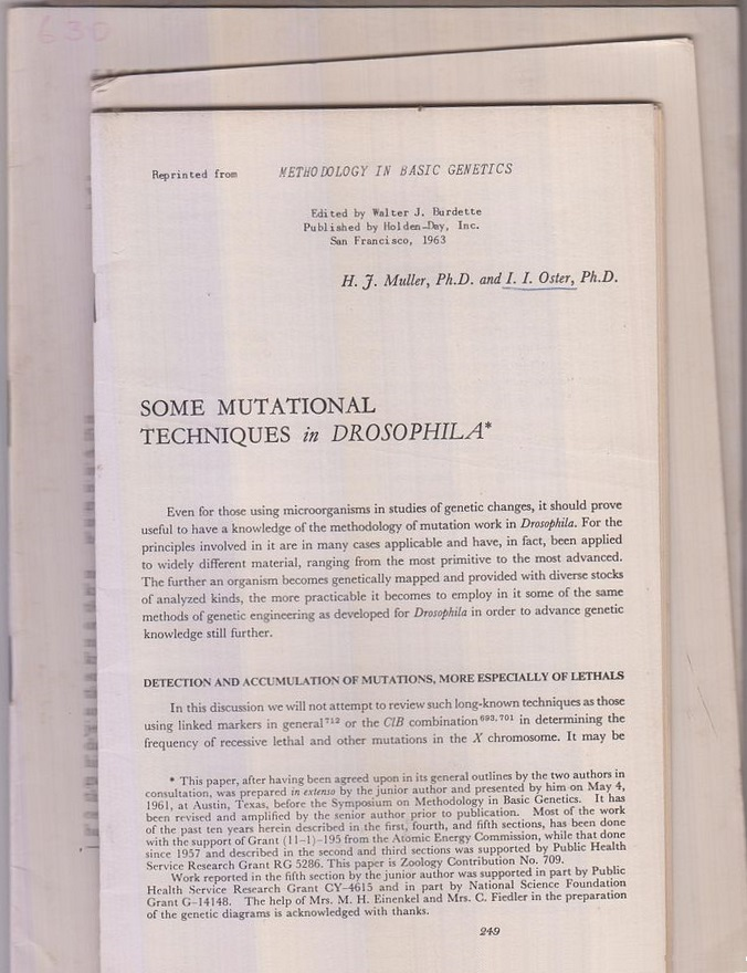 Set of four offprints by Hermann J.: Muller, Hermann J.