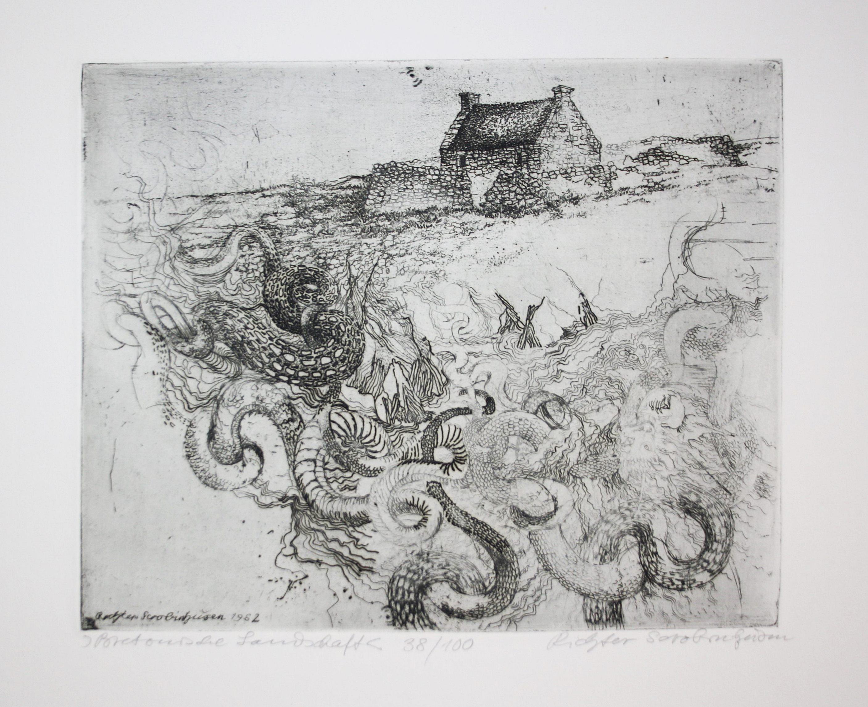 """Bretonische Landschaft"""" - Schlangen Drachen Grafenwöhr Radierung: Richter-Scrobinhusen, Norbert (1929-1975):"""