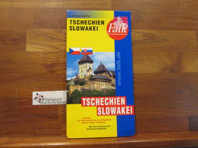 Tschechien, Slowakei : mit Ortsverzeichnis und Cityplänen: Brünn, Prag, Pressburg ; mit Hervorhebung der Sehenswürdigkeiten = ÄŒeská Slovenska ́. Länderkarte