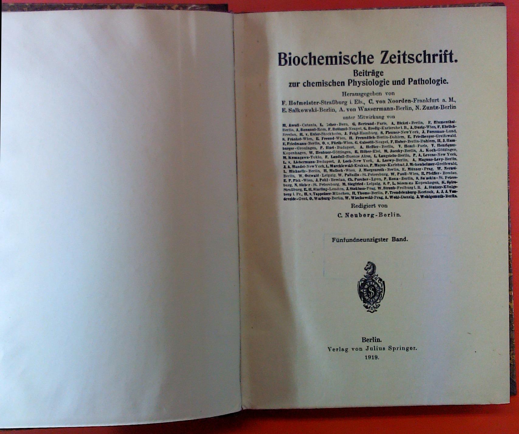 Biochemische Zeitschrift. Beiträge zur chemischen Physiologie und: Hrsg. F. Hofmeister,