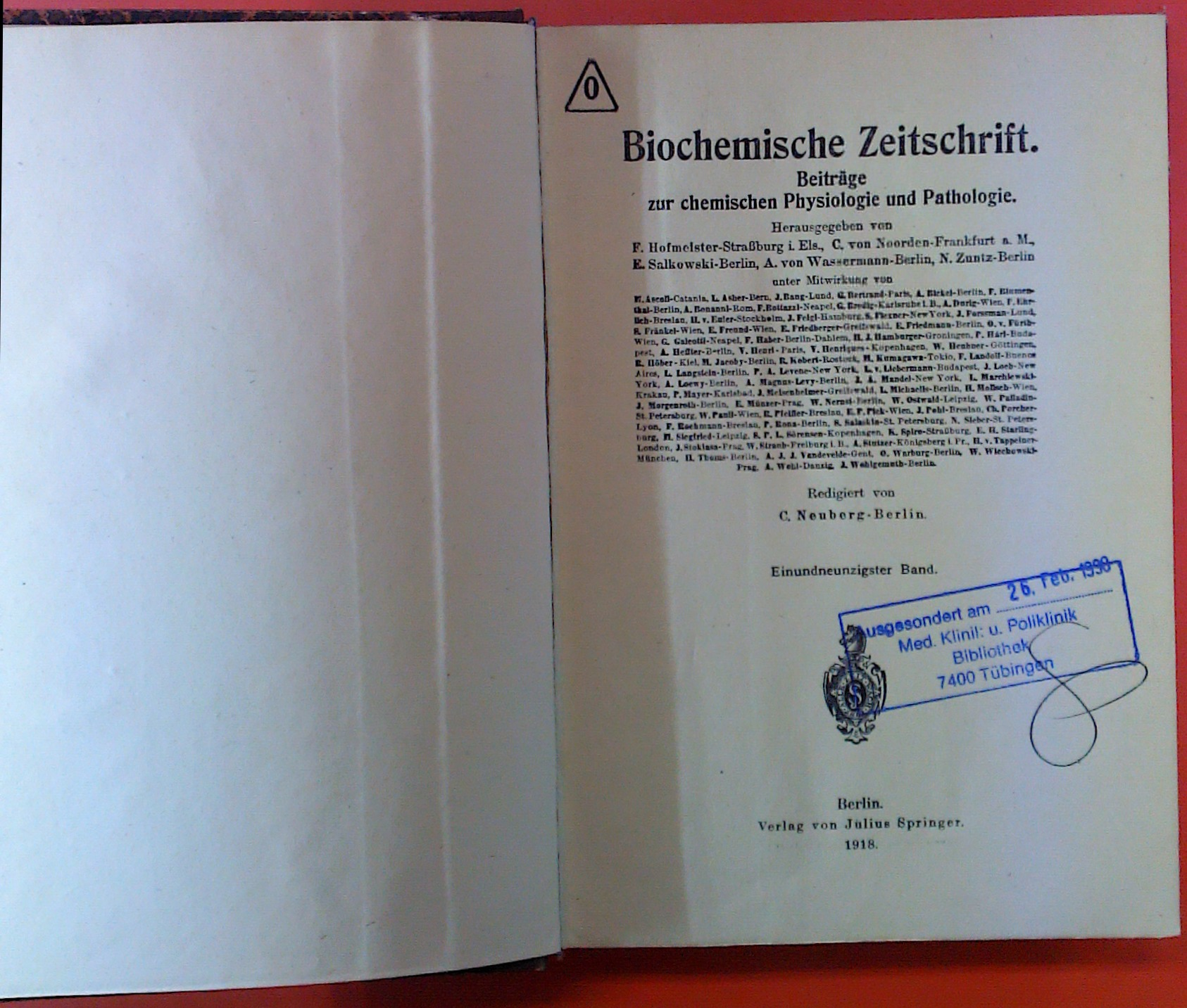 Biochemische Zeitschrift. Beiträge zur chemischen Physiologie und: Hrsg. Hofmeister, C.