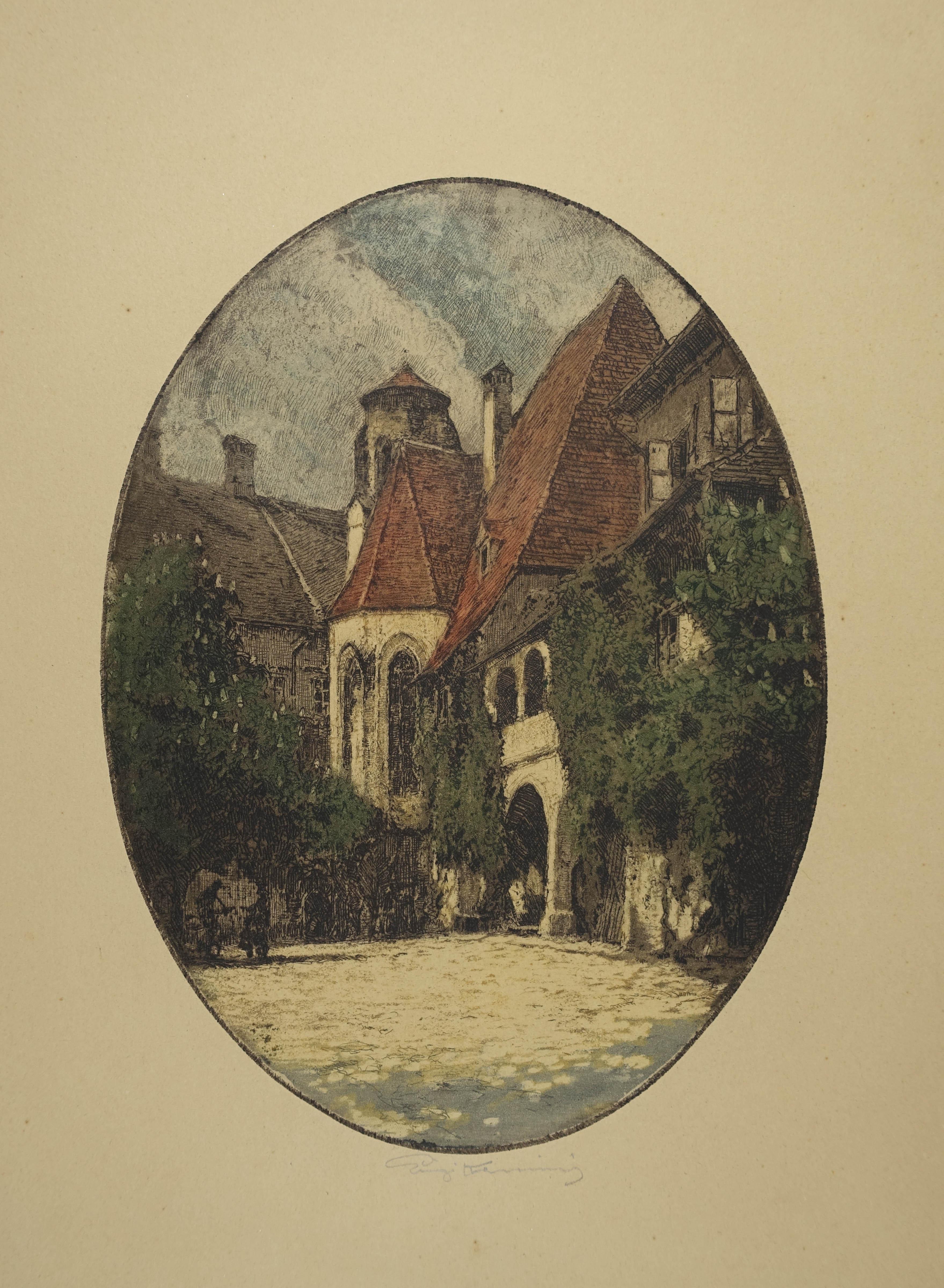 "Farbradierung ""Purgstall a. d. Erlauf"" im Oval,: Kasimir Luigi (1881-1962)"