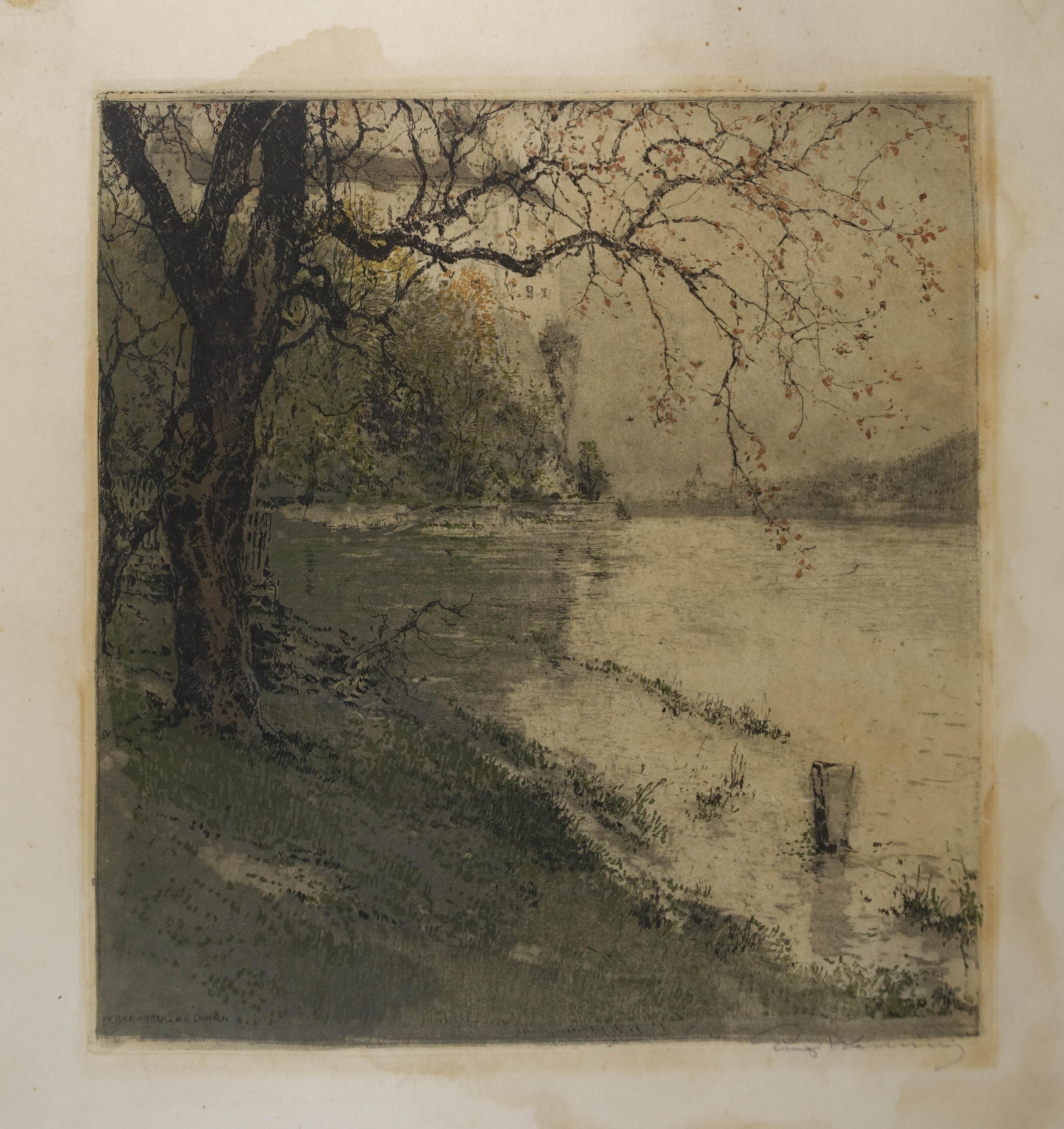 """Farbradierung """"Persenbeug a. d. Donau"""" auf Japanpapier,: Kasimir Luigi (1881-1962)"""