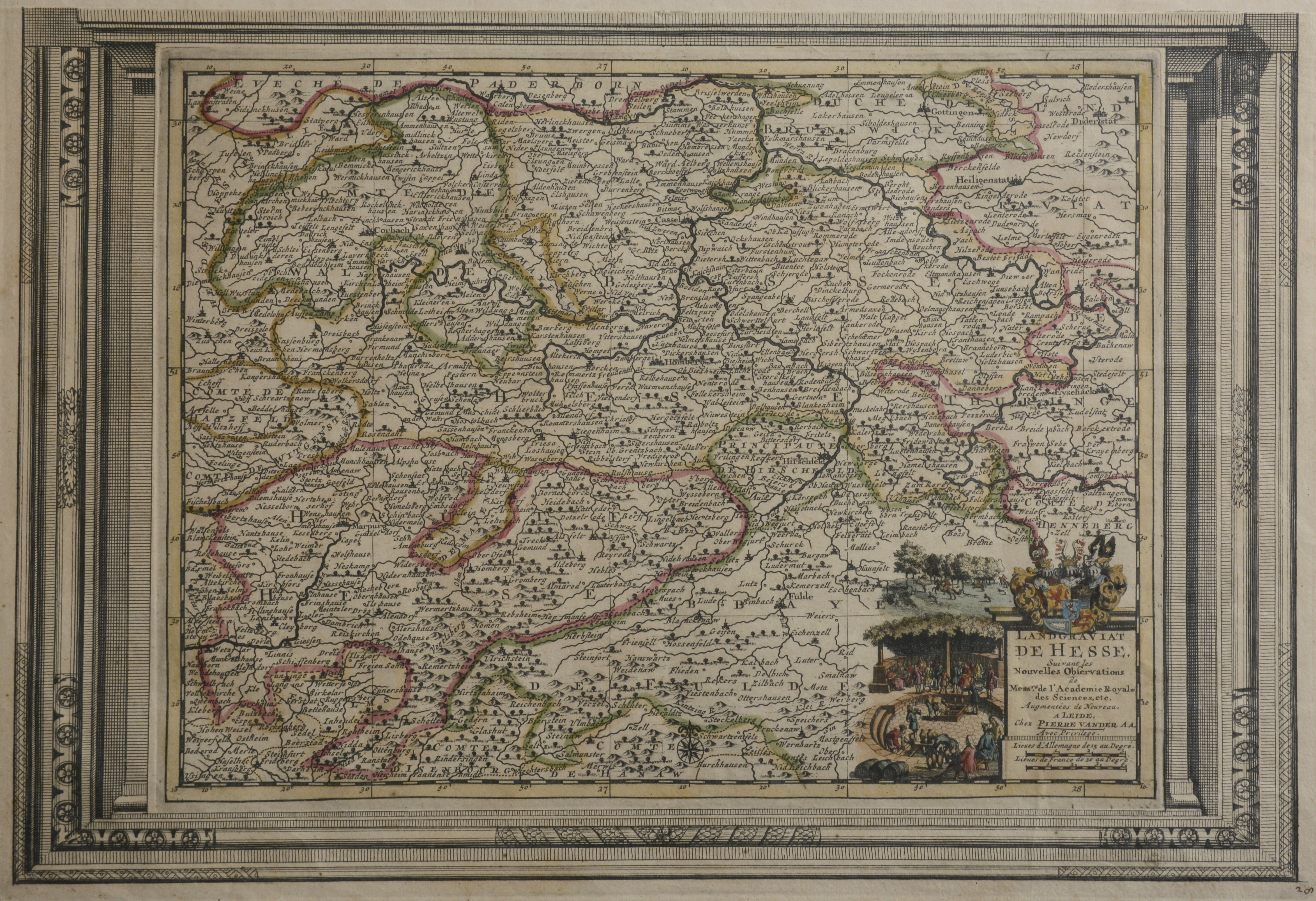 Landgraviat de Hesse. Karte des Gebietes zwischen: NORDHESSEN -