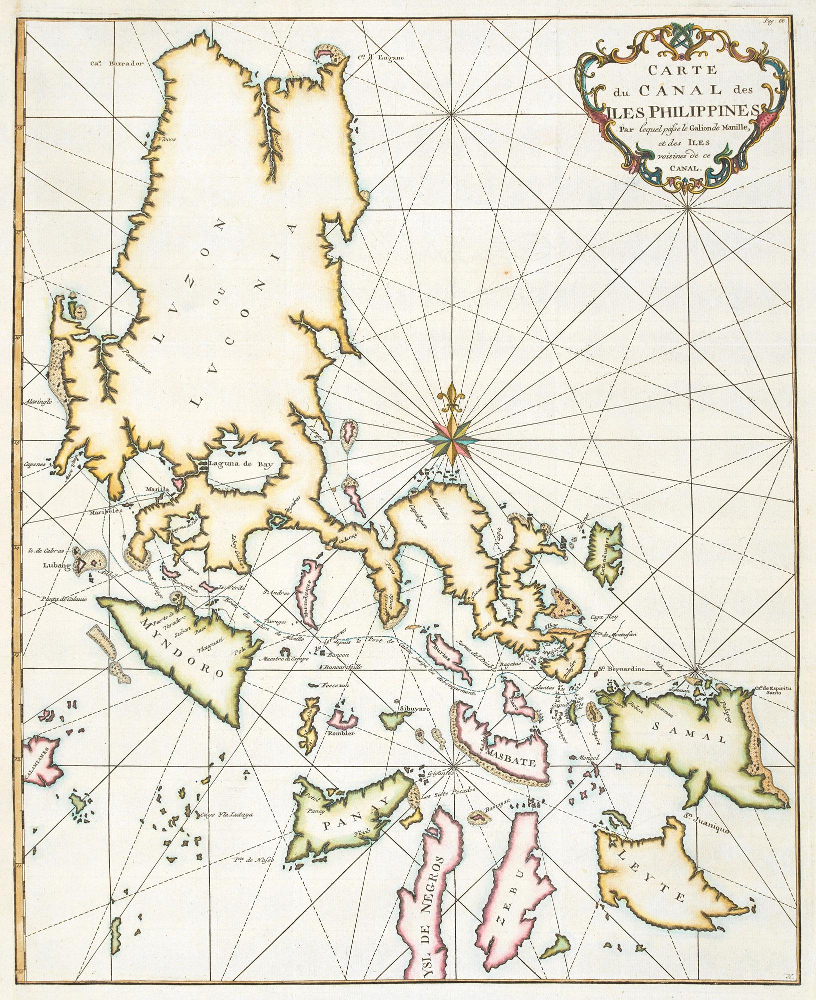 Carte du Canal des Iles Philippines Par: ANSON, George.