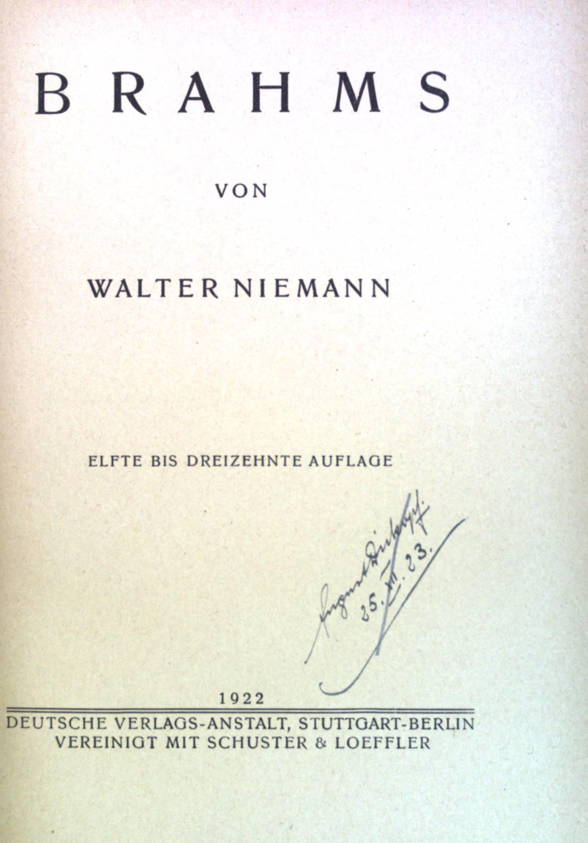 Brahms. Klassiker der Musik.: Niemann, Walter: