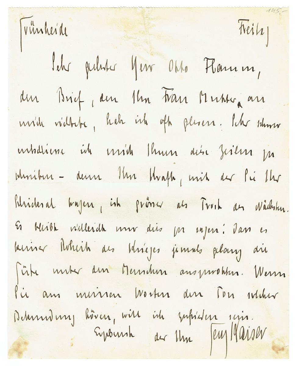Brief an Otto Flamm: Kaiser, Georg