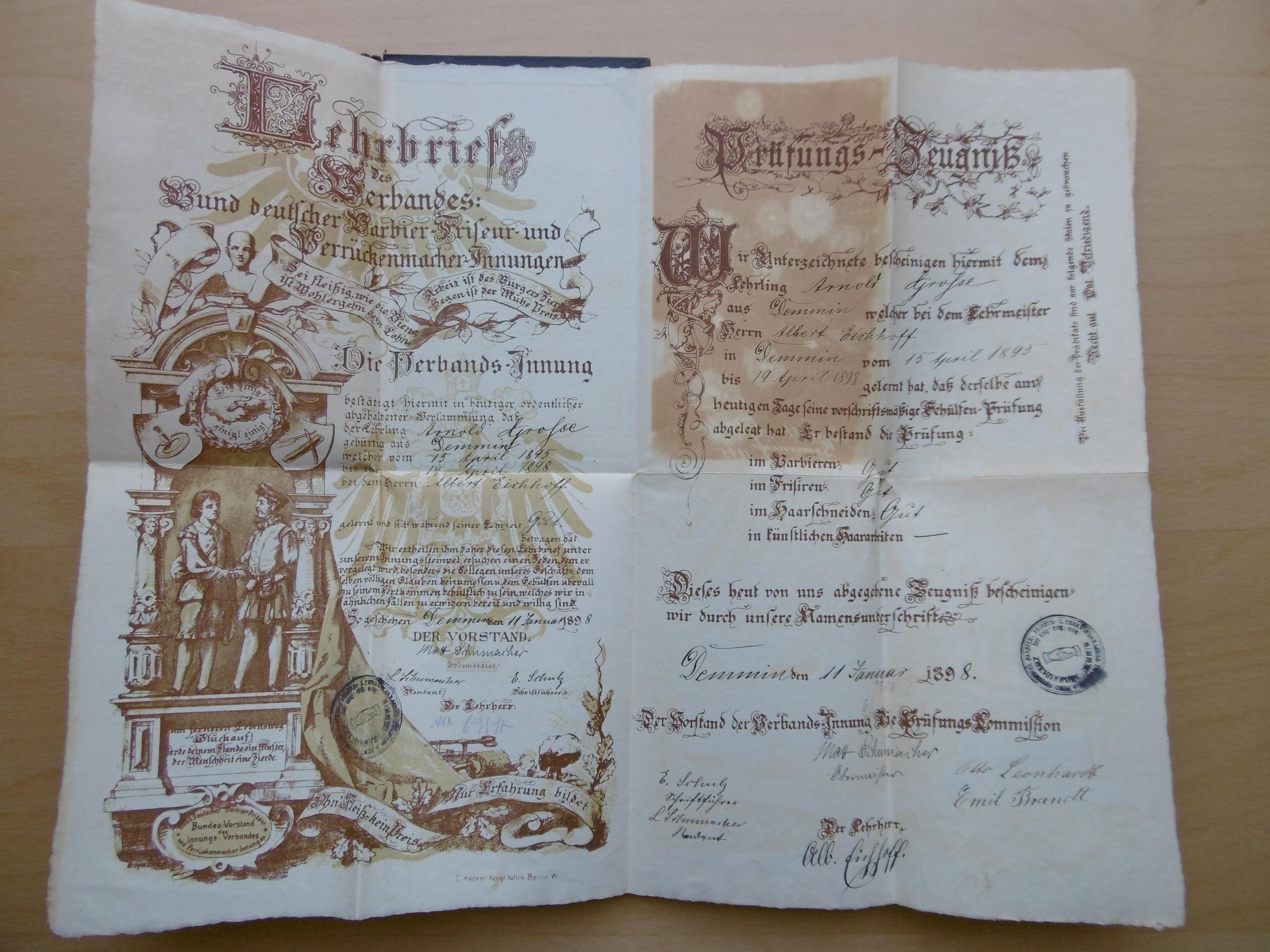 Lehrbrief des Verbandes Bund deutscher Barbier- Friseur-: Bund deutscher Barbier-