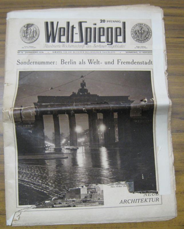 Sondernummer: Berlin als Welt - und Fremdenstadt.: WeltSpiegel. - Berliner