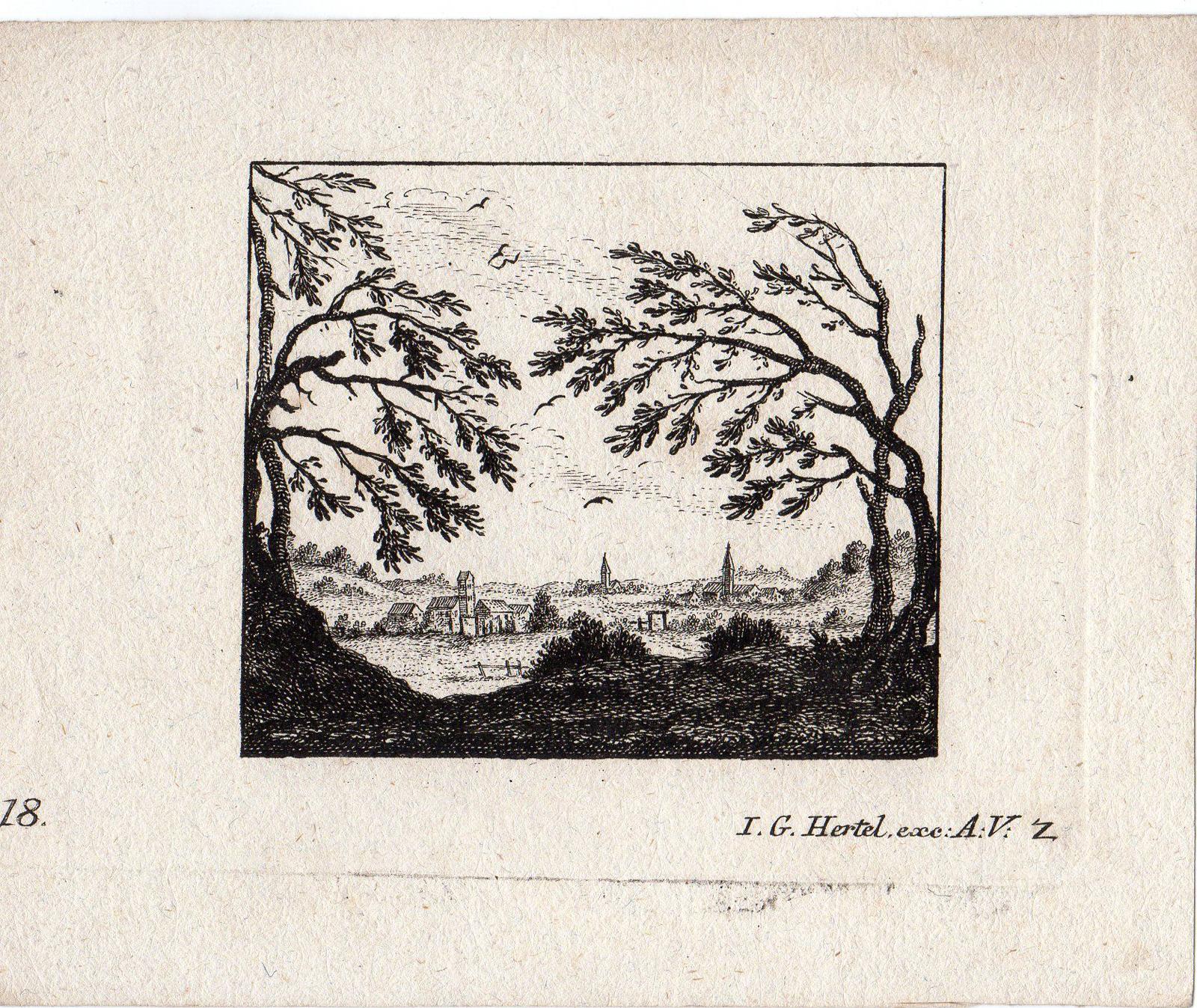 Antique Master Print-VILLAGE-VIEW-LANDSCAPE-Hertel-C. 1750: Johann Georg Hertel
