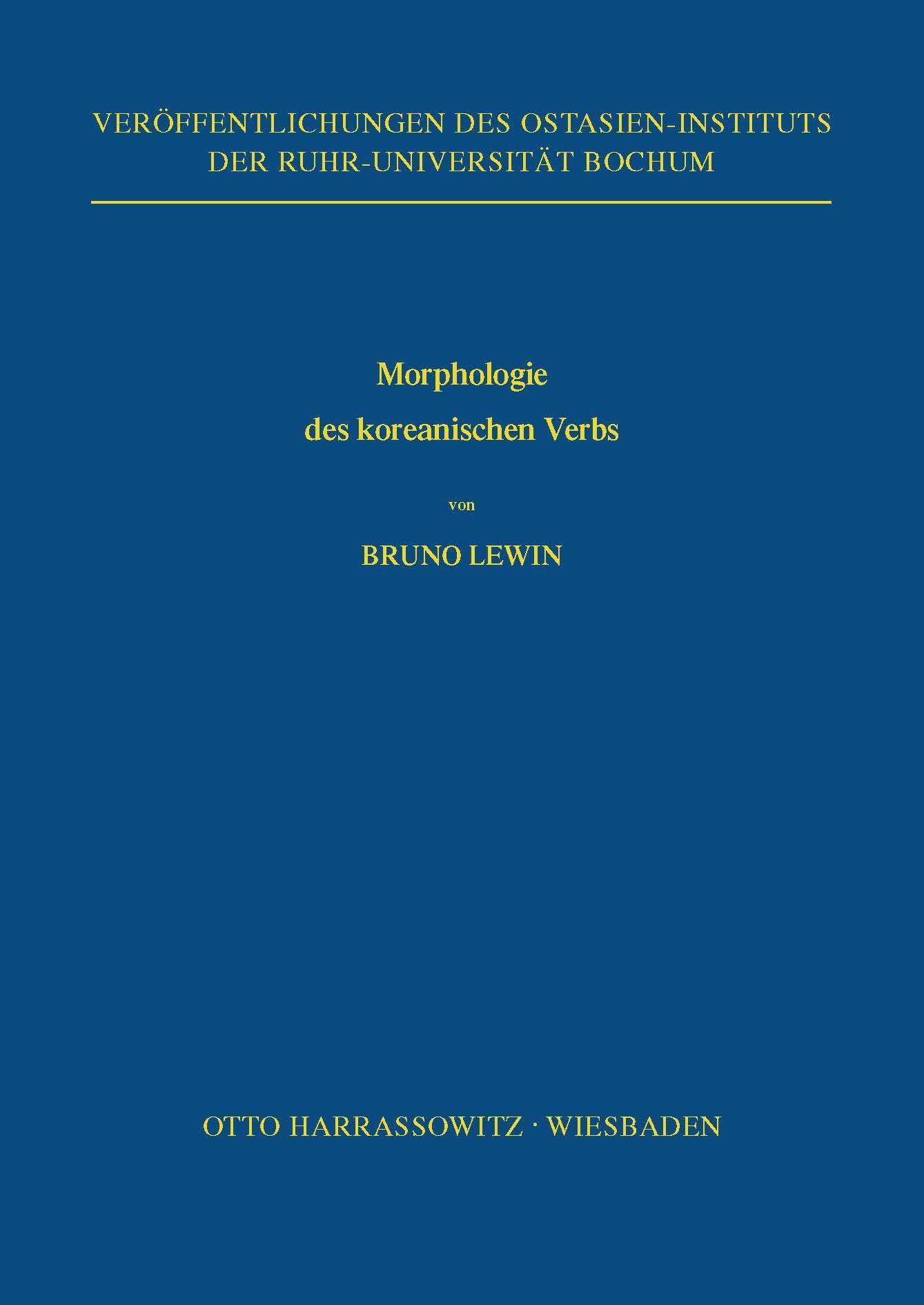 Lewin, B: Morphologie des koreanischen Verbs - Lewin, Bruno