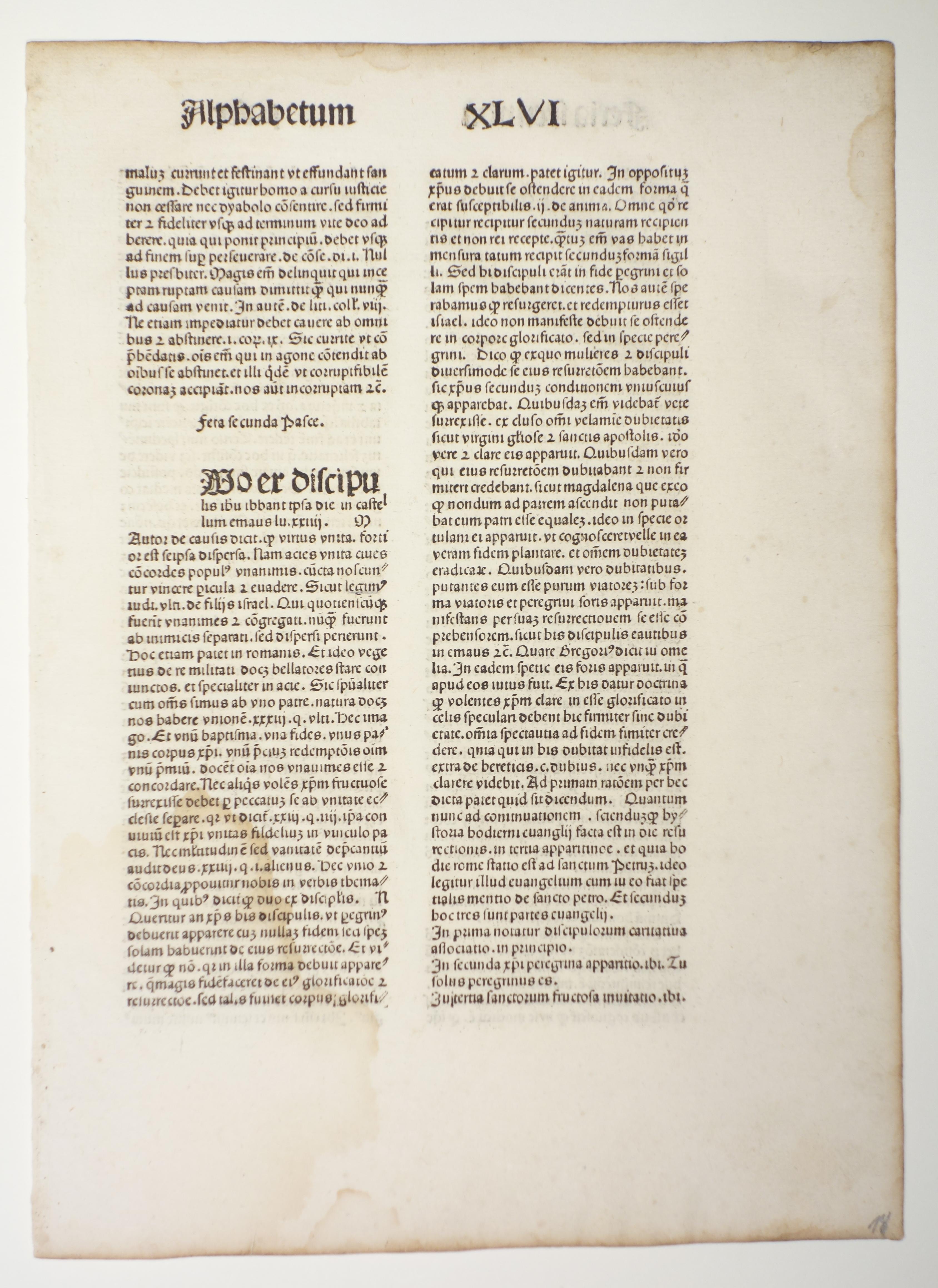Quadragesimale (GW 11550, HC 8062). Blatt aus: Conradus Gritsch: