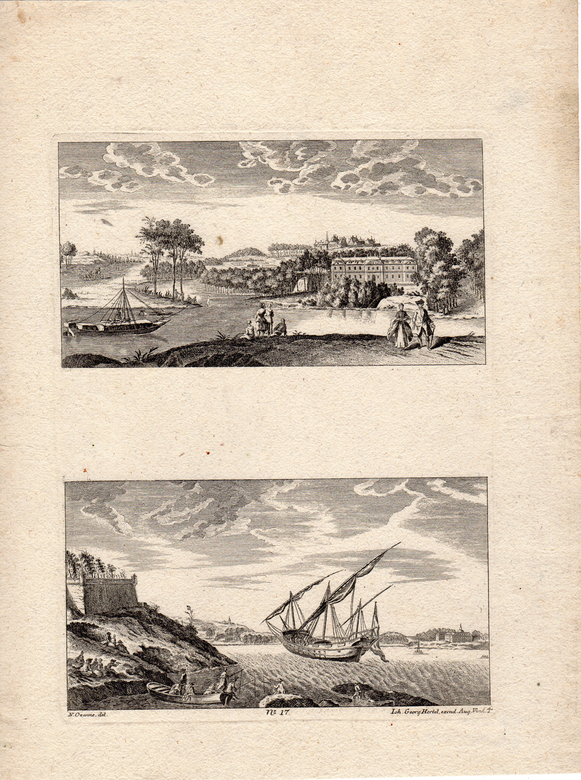 2 Antique Prints-LANDSCAPE-MARINE- SHIP-Ozanne-Hertel-c.1750: Johann Georg Hertel