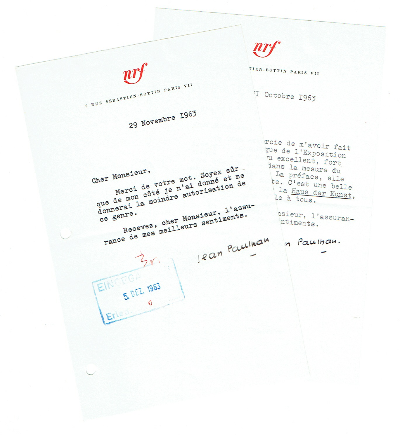 3 ms. Briefe mit eigenh. Unterschrift.: Paulhan, Jean, französischer