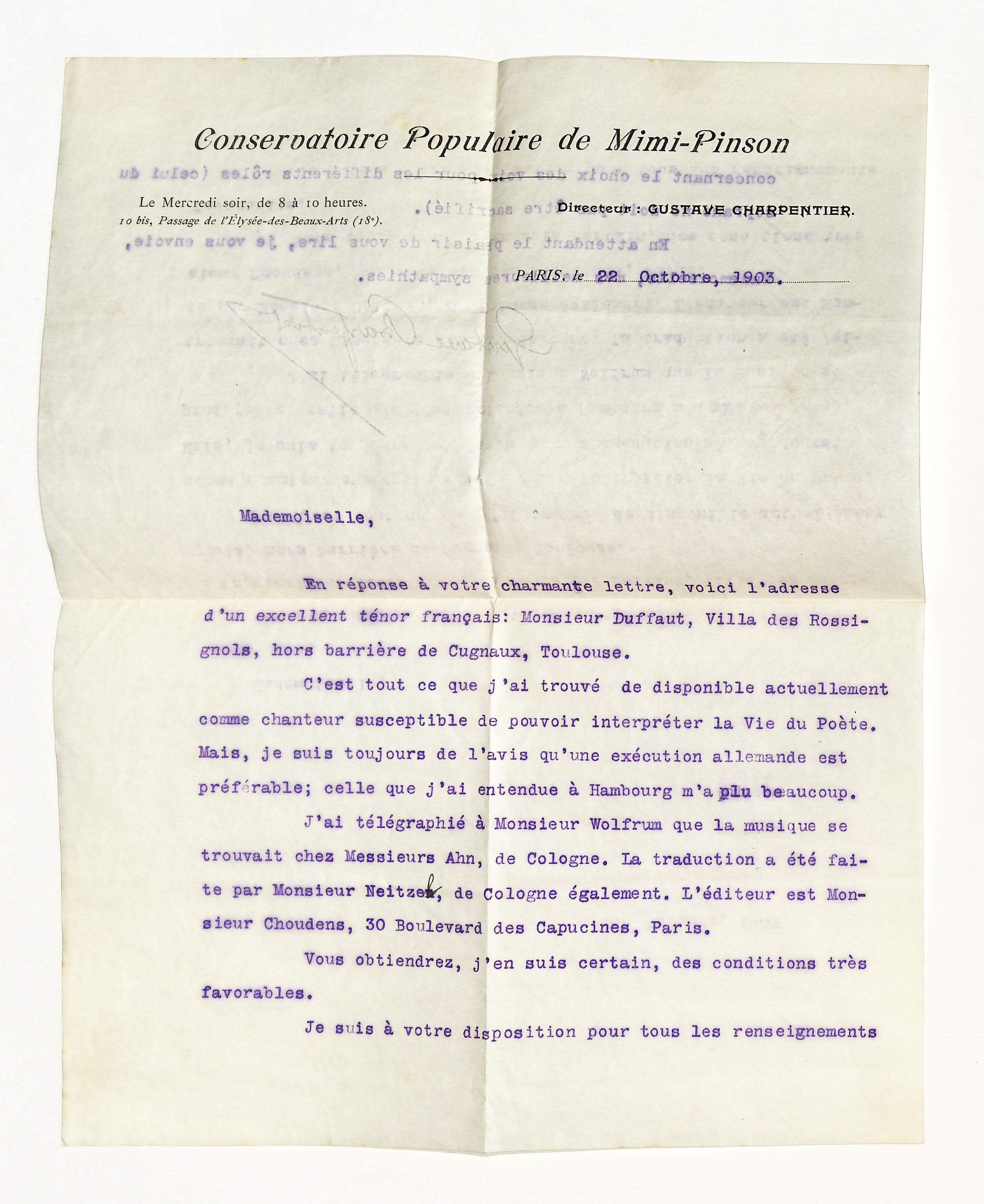 Masch. Brief mit eigenh. U.: Charpentier, Gustave, Komponist