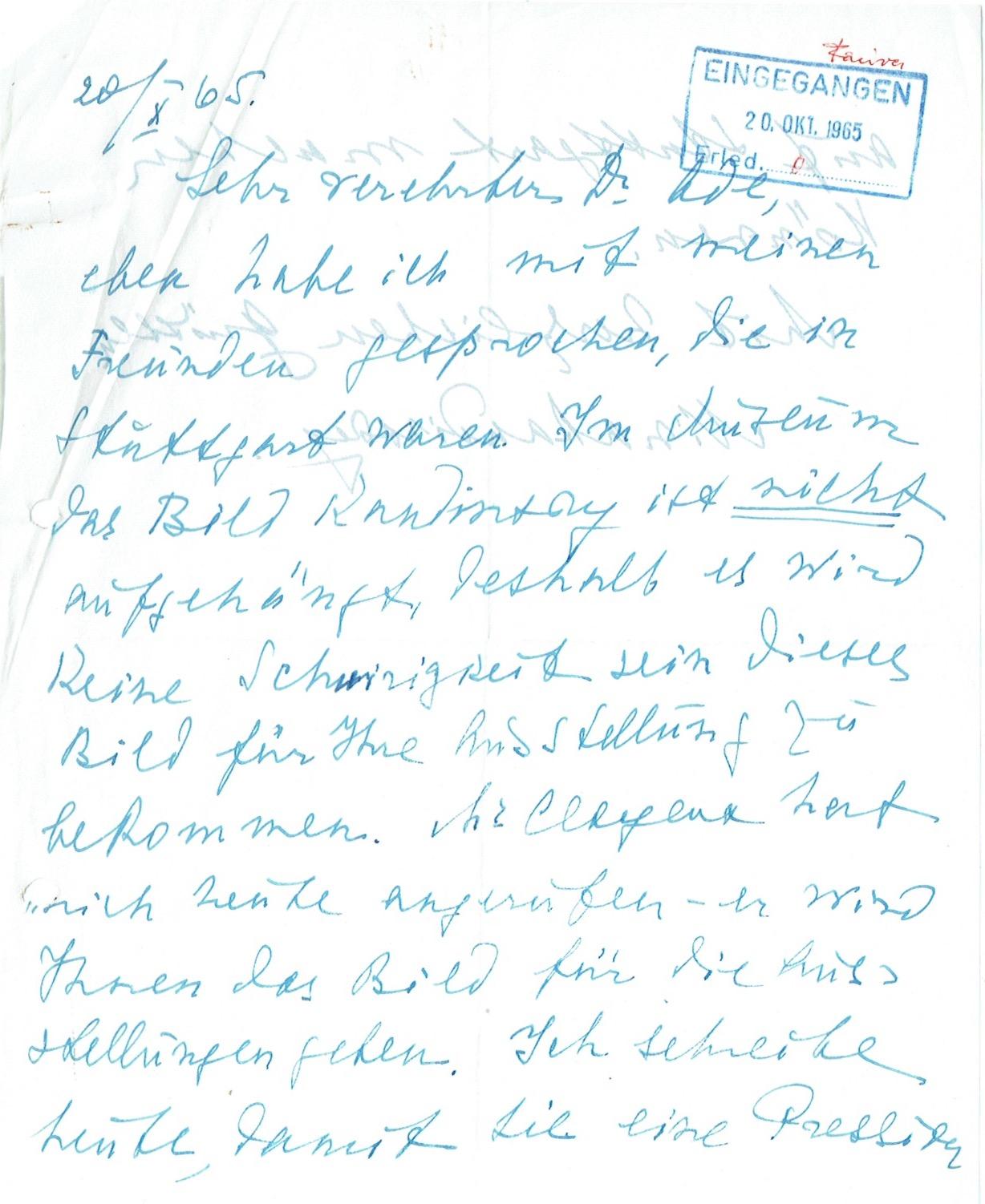 4 eigenh. Briefe mit Unterschrift.: Kandinsky, Nina, zweite
