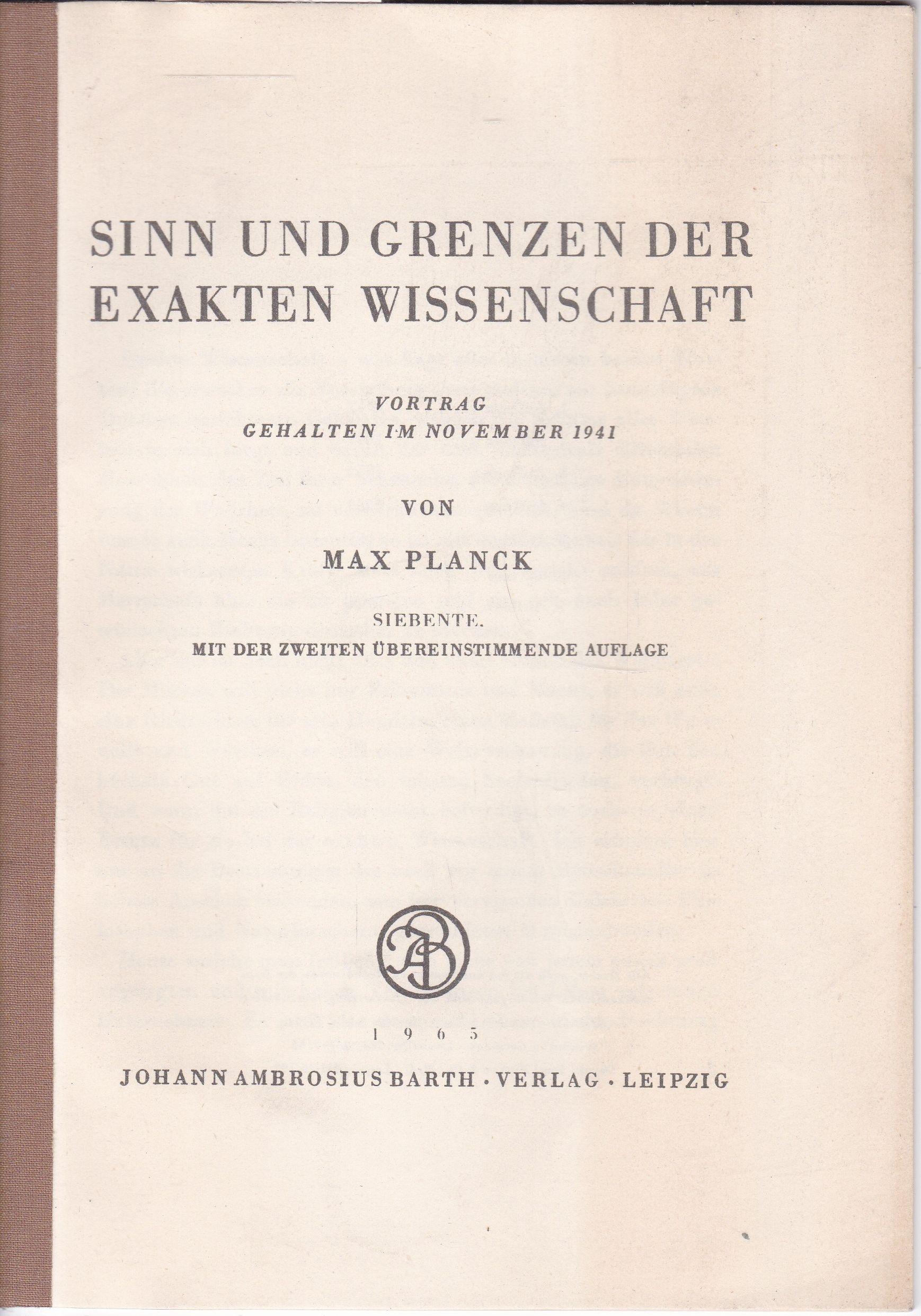 Sinn u. Grenzen d. exakten Wissenschaft. Vortrag: Planck, Max