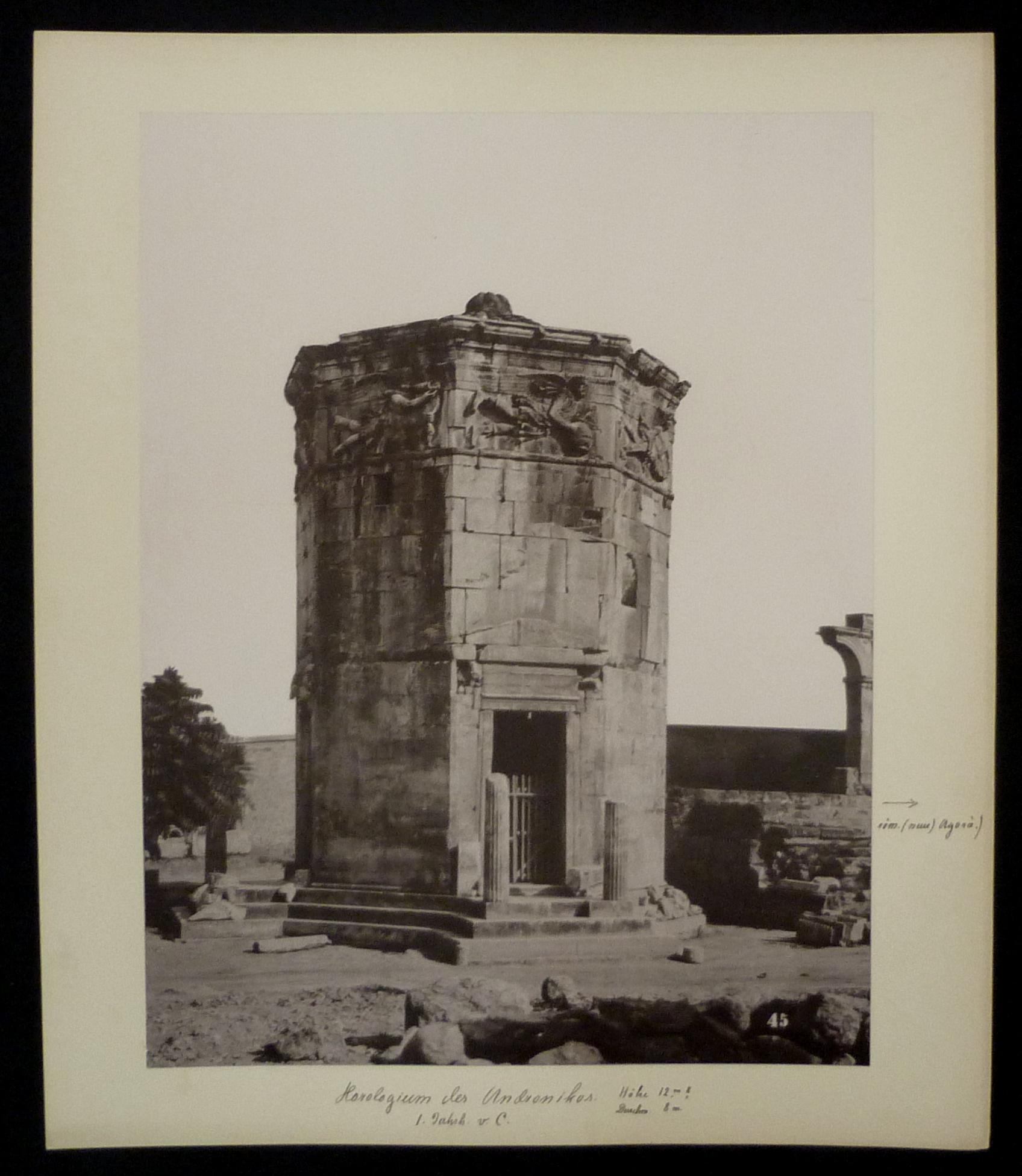 Hs. beschriftet: Horologium des Andronikos. 1. Jahrh.: Originalfotografien - Griechenland.