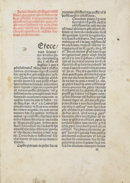 Confessionale [mit] Titulus de restitutionibus.: Antoninus Florentinus.