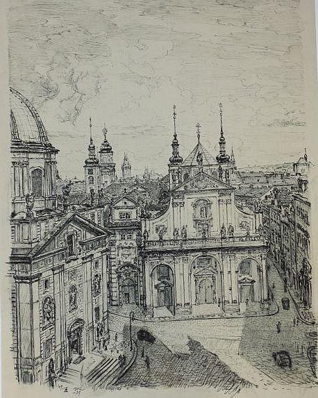 Die Salvatorkirche in Prag. - Tuschezeichnung]. -: Wik, Karel: